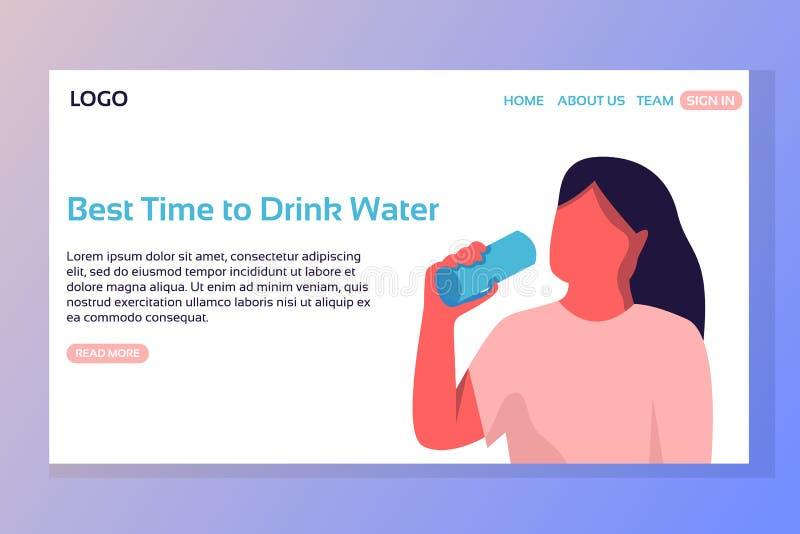 Page de débarquement de sport Recyclage de 04 Rappel de l'eau de boissons Développement de page Web Illustration plate de vecteur illustration de vecteur