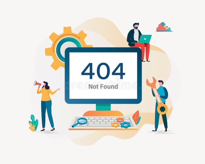 page de 404 erreurs non trouvée Fond d'illustration de vecteur Conception graphique de personnage de dessin animé plat Page d'att illustration de vecteur