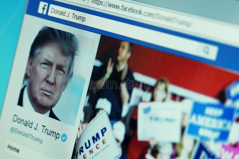 Page de facebook de Donald Trump images stock