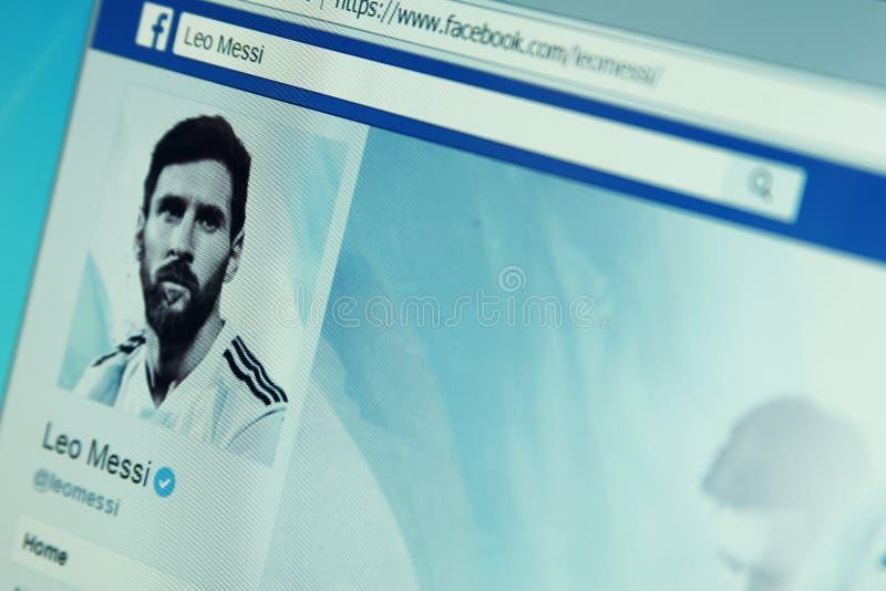 Page de facebook de Lionel Messi images libres de droits