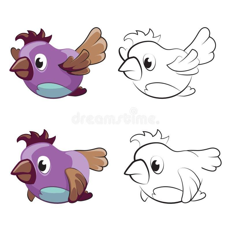 Page de la coloration des enfants avec les oiseaux de bande dessinée de vol - oiseaux de vol pour la coloration illustration libre de droits