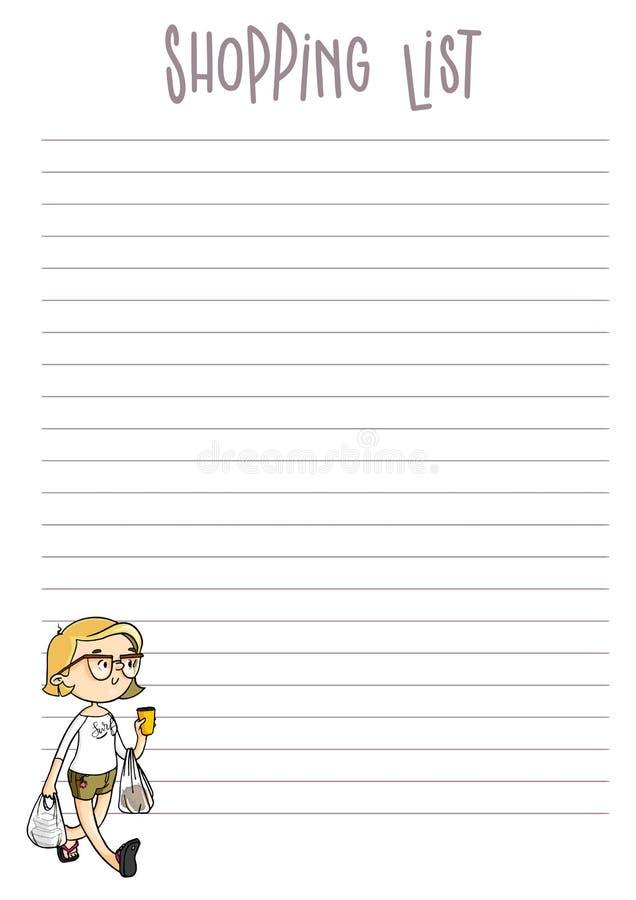 Page de liste d'achats Calibre imprimable de planificateur de vecteur Org quotidien illustration stock