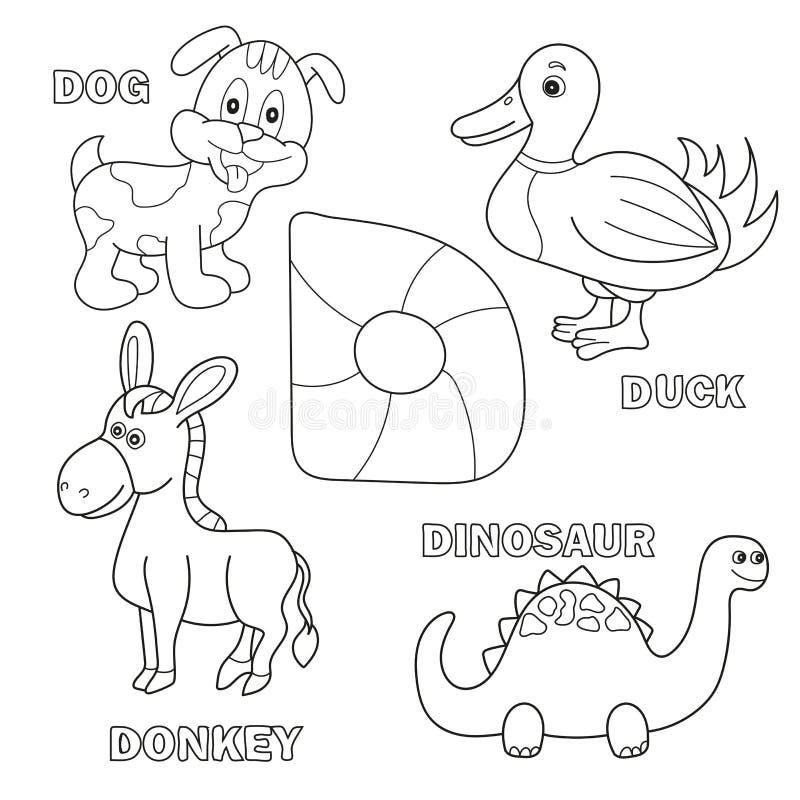 Page de livre de coloriage d'alphabet d'enfants avec des cliparts (images graphiques) décrits Lettre D illustration stock