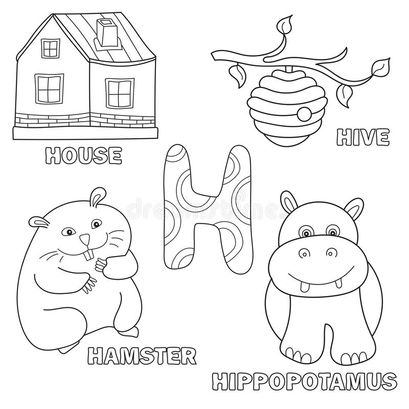 Page de livre de coloriage d'alphabet d'enfants avec des cliparts (images graphiques) décrits Lettre H illustration stock