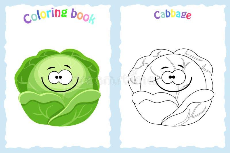 Page de livre de coloriage pour des enfants avec le chou et le sket colorés illustration de vecteur