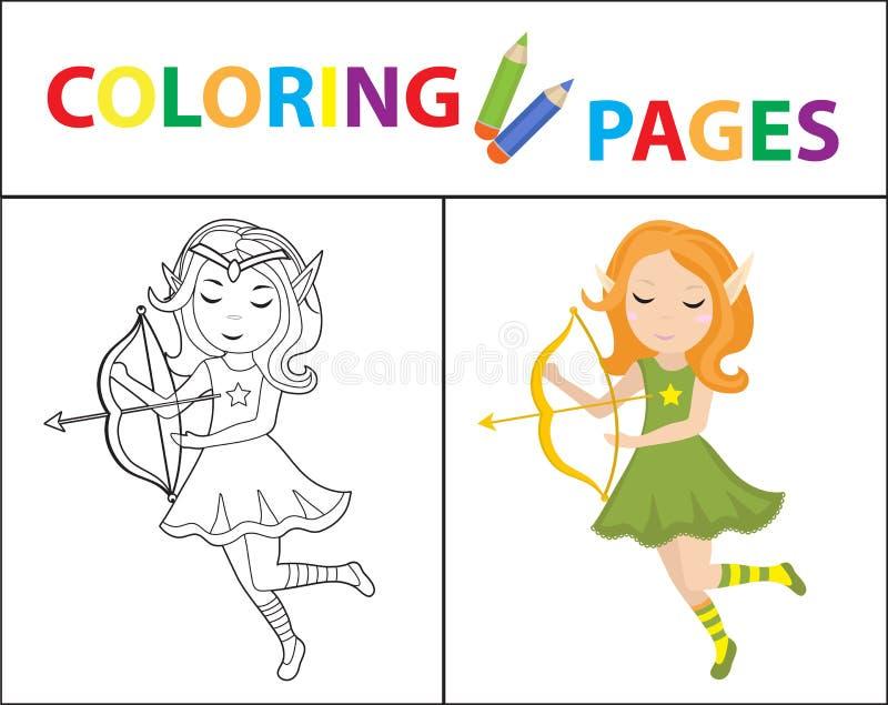 Page de livre de coloriage pour des enfants Elfe de forêt avec un arc Version d'ensemble et de couleur de croquis L'?ducation des illustration stock