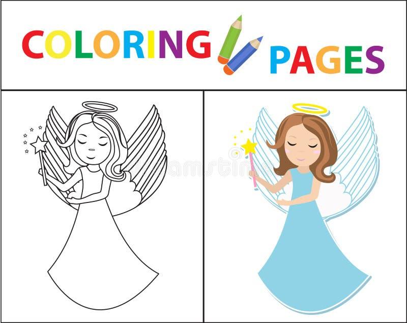 Page de livre de coloriage pour des enfants Petite fille d'ange Version d'ensemble et de couleur de croquis L'?ducation des enfan illustration de vecteur