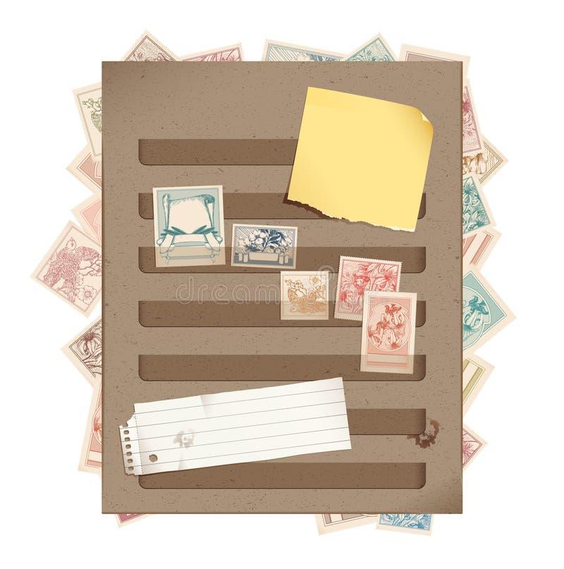 Page de livre d'estampille de Brown avec des estampilles, papier déchiré et illustration stock