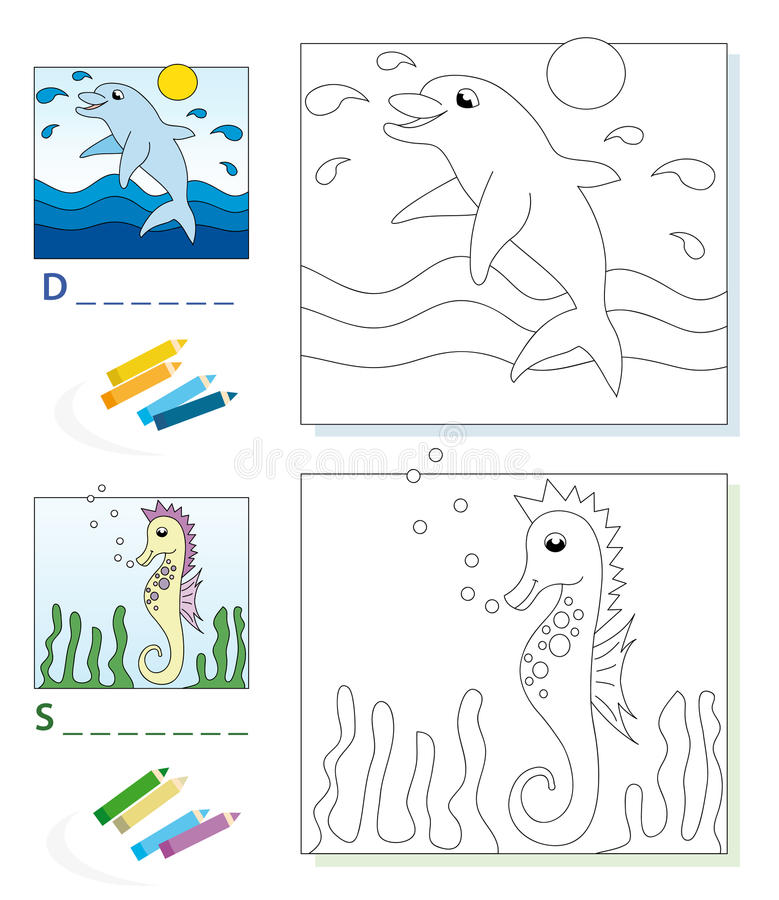 Page de livre de coloration : dauphin et hippocampe illustration de vecteur