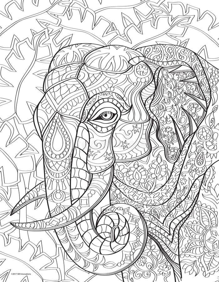 Page de livre de coloriage d'éléphant images libres de droits