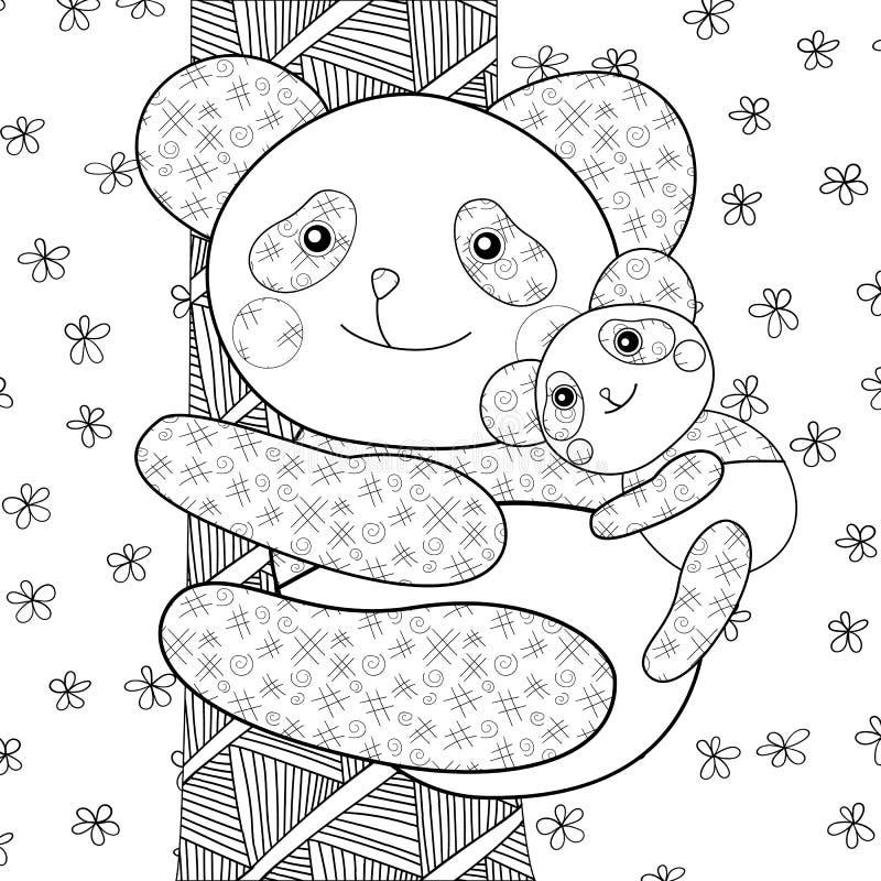 Page de livre de coloriage d 39 enfant de panda illustration stock illustration du animal t te - Coloriage info panda ...