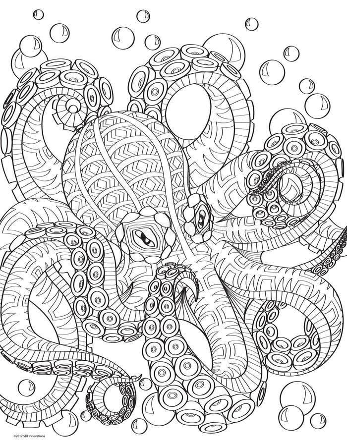 Page de livre de coloriage de poulpe photographie stock libre de droits