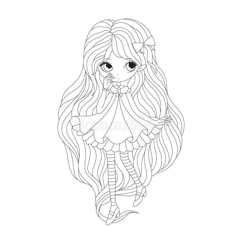 Page de livre de coloriage - elfe de fille illustration libre de droits