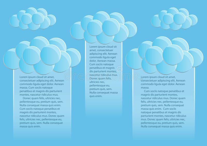 Page 2 de 5 Maquette avec les nuages ronds d'abrégé sur extrémité de ciel bleu illustration de vecteur