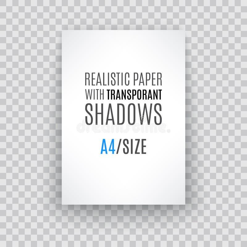 Page de papier blanche avec la boucle de page et l'ombre, élément de conception illustration stock