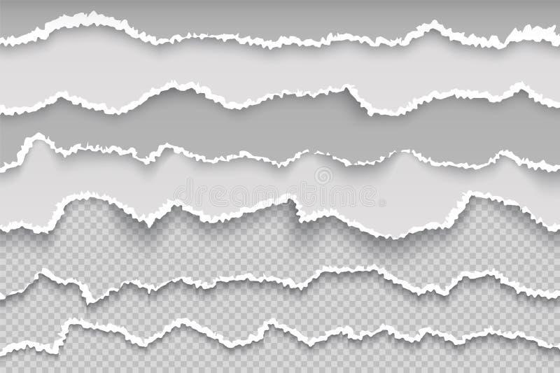 Page de papier de déchirure Frontière grunge transparente déchirée de page, carton blanc cassé, texture endommagée approximative  illustration stock