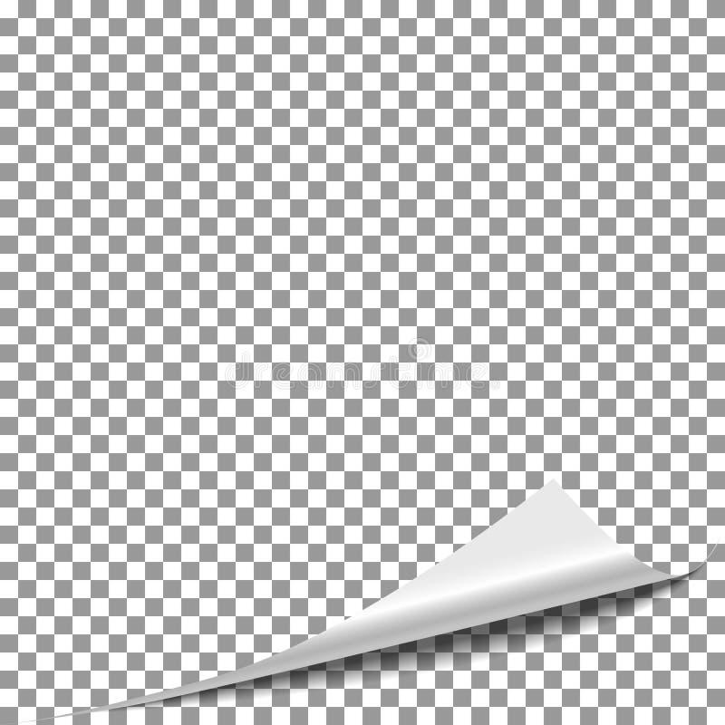 Page de papier de peau de boucle Renversez la page de magazine, tournez le vecteur faisant le coin de papier illustration libre de droits