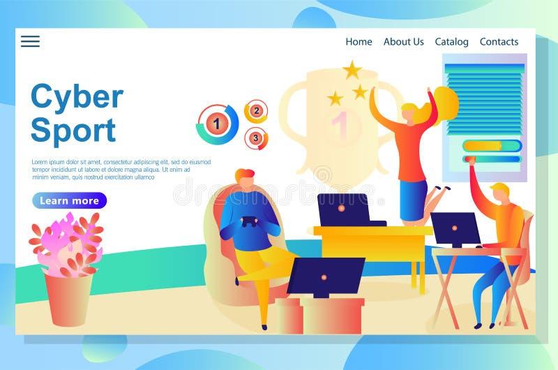Page de site Web au sujet des activités de cyber, les gens concurrençant et gagnant dans quelques jeux virtuels illustration de vecteur