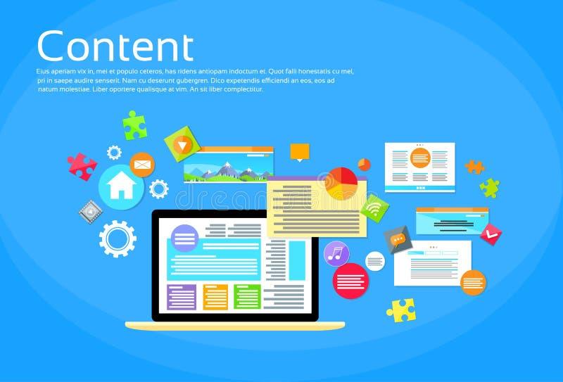 Page de site Web du contenu numérique d'ordinateur portable illustration libre de droits