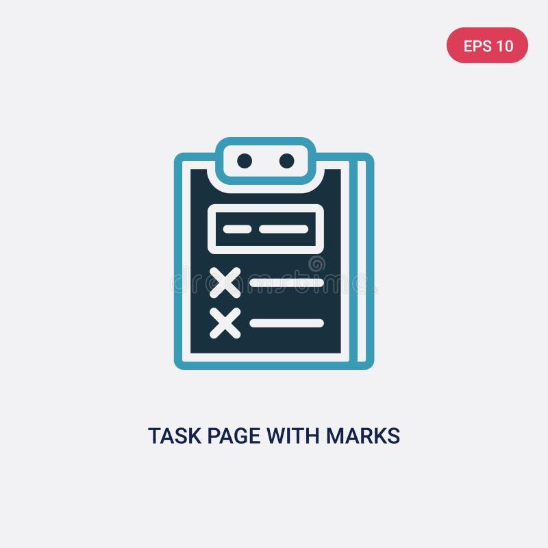 Page de tâche de deux couleurs avec l'icône de vecteur de marques du concept de productivité la page bleue d'isolement de tâche a illustration libre de droits