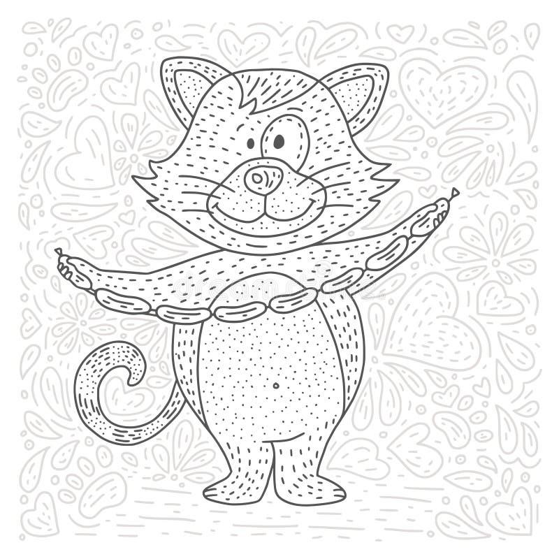 Page de vecteur de coloration avec le chat heureux illustration libre de droits