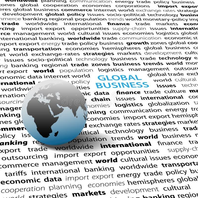 Page des textes de globe du monde d'émissions d'affaires globales illustration stock