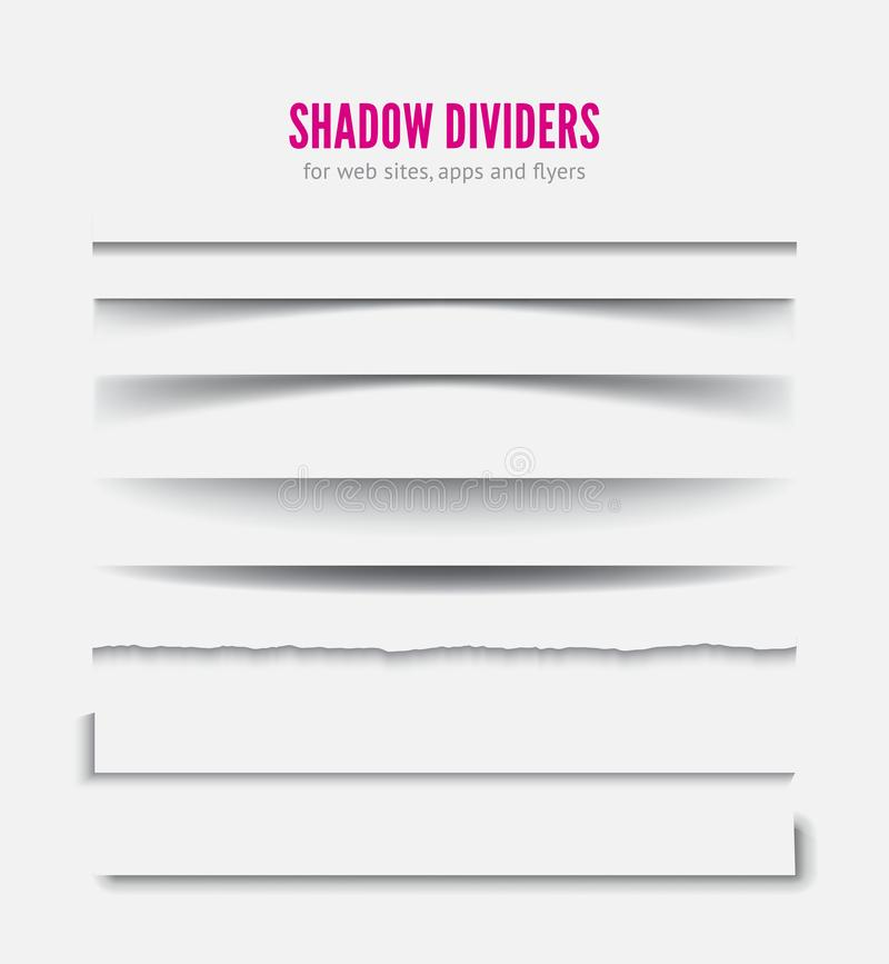 Page divider. Transparent realistic paper shadow effect royalty free illustration