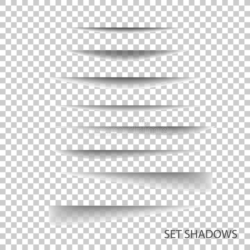 Page divider. Transparent realistic paper shadow effect set. vector illustration