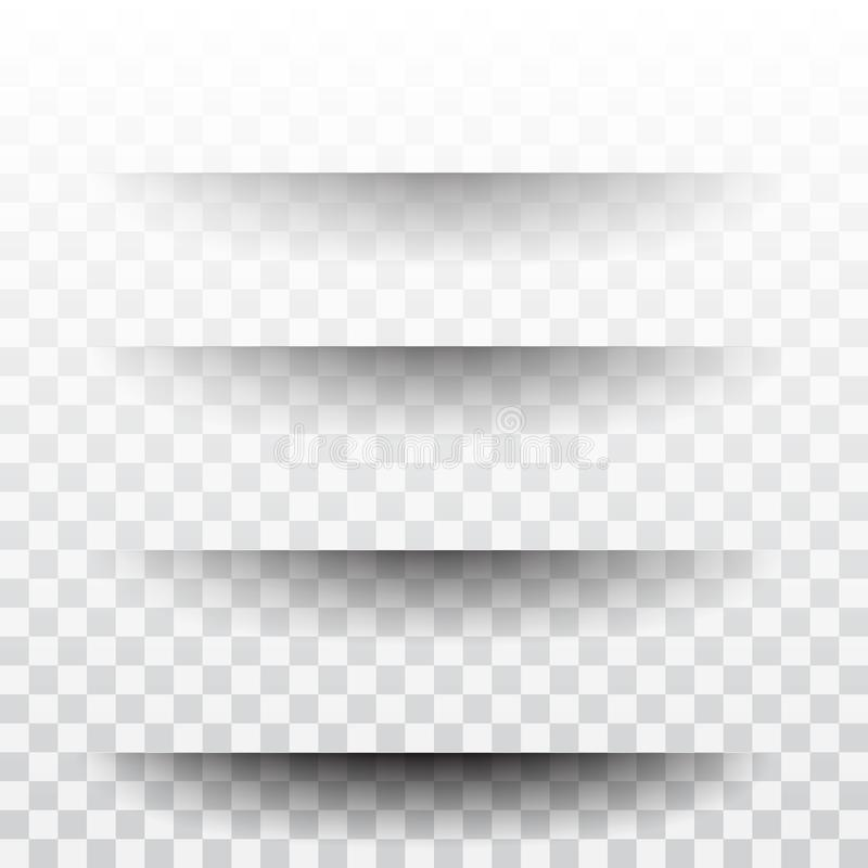 Page divider with transparent shadows isolated. Pages separation vector set. royalty free illustration