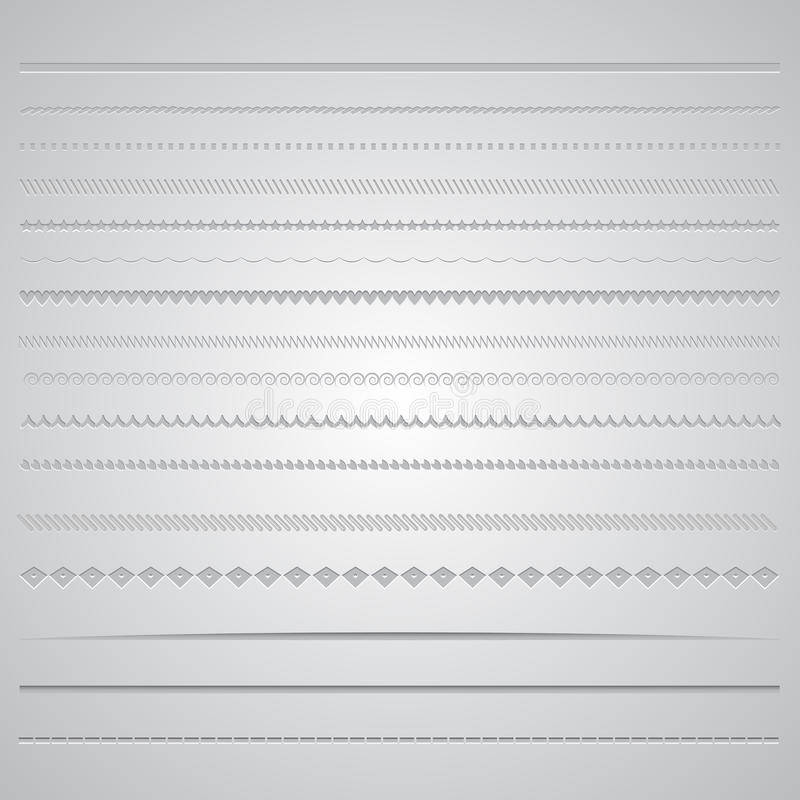 Page dividers. Collection of various decorative page dividers royalty free illustration