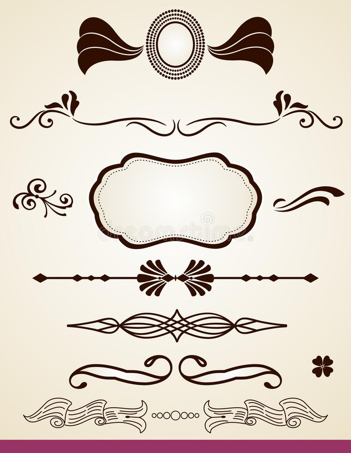 Page dividers and decorations. Set of page or chapter dividers and decorations stock illustration