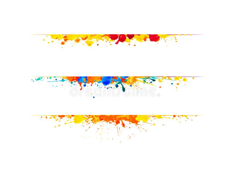 Page dividers of splash paint. Page dividers of watercolor splash paint. Vector vector illustration