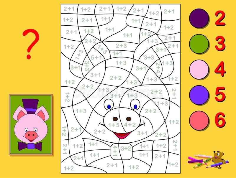 Page ?ducative avec des exercices pour des enfants sur l'addition Devez résoudre des exemples et peindre le portrait d'un porcele illustration de vecteur