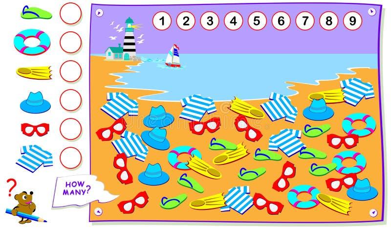Page ?ducative imprimable pour des enfants Comptez la quantité d'objets sur la plage et écrivez les nombres en cercles illustration de vecteur