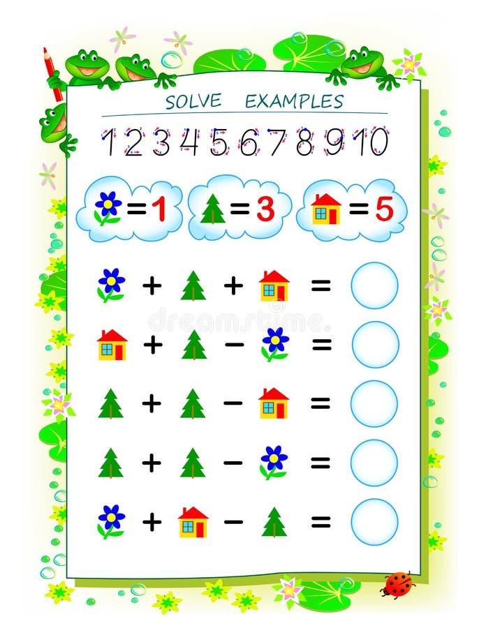 Page ?ducative pour des enfants sur l'addition et la soustraction R?solvez les exemples et ?crivez les nombres en cercles illustration de vecteur