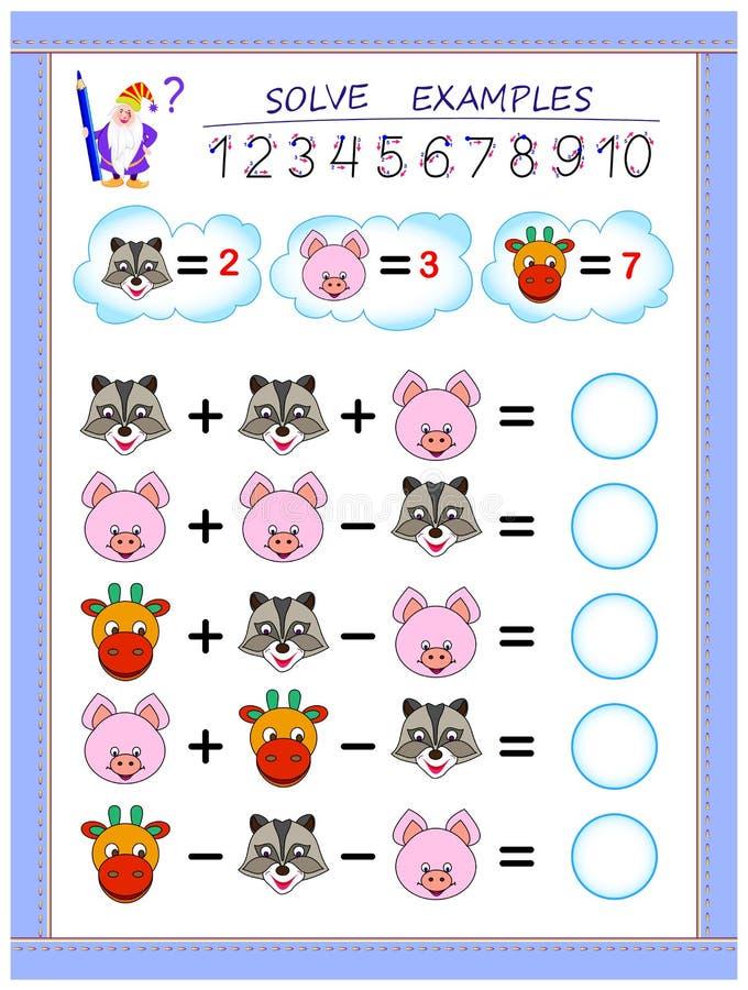 Page ?ducative pour des enfants sur l'addition et la soustraction R?solvez les exemples et ?crivez les nombres en cercles illustration stock