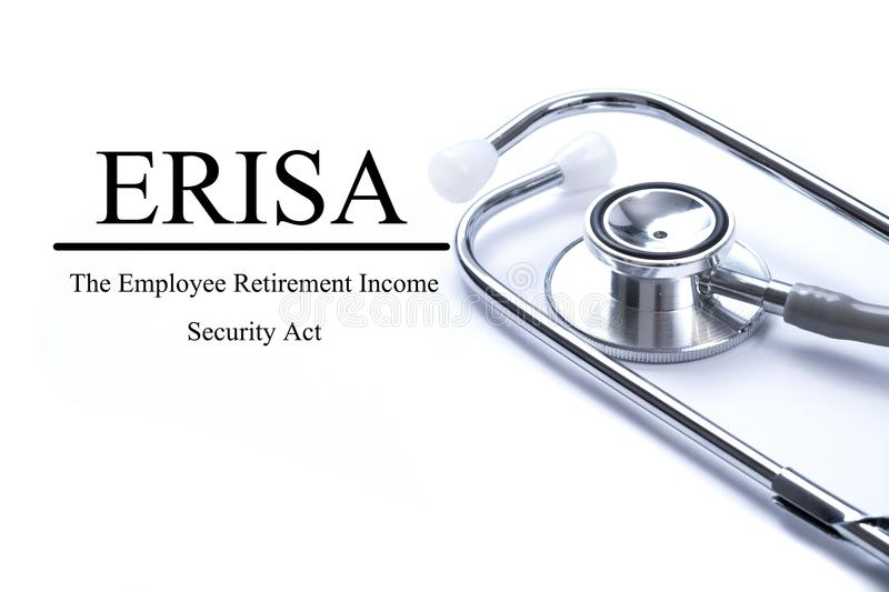 Page with ERISA The Employee Retirement Income Security Act on stock images