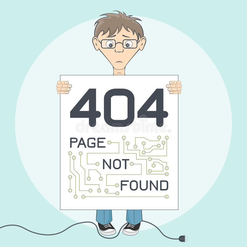 Page with 404 error for website. Cartoon style royalty free stock image