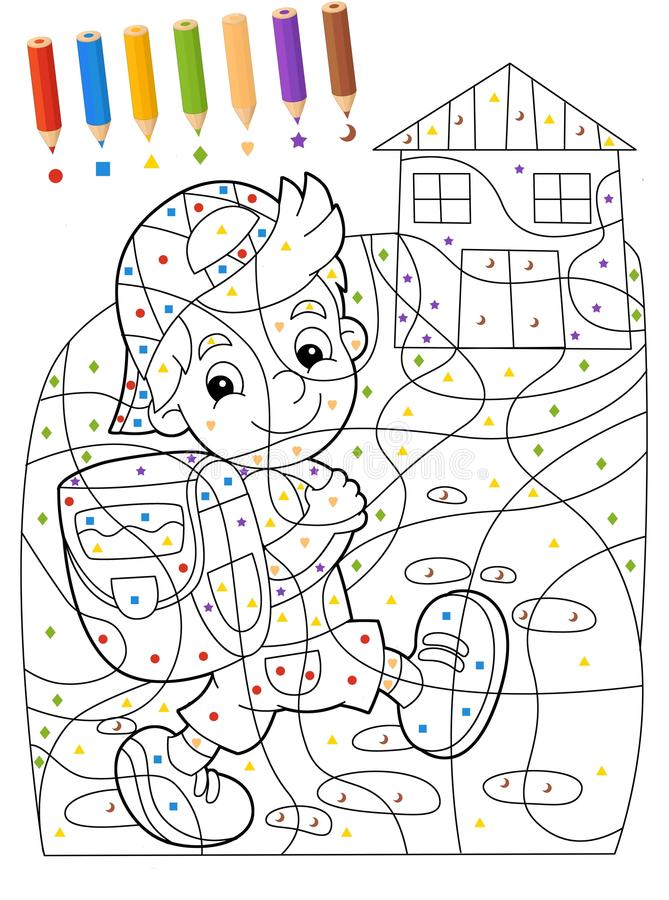 The Page With Exercises For Kids Coloring Book Illustration