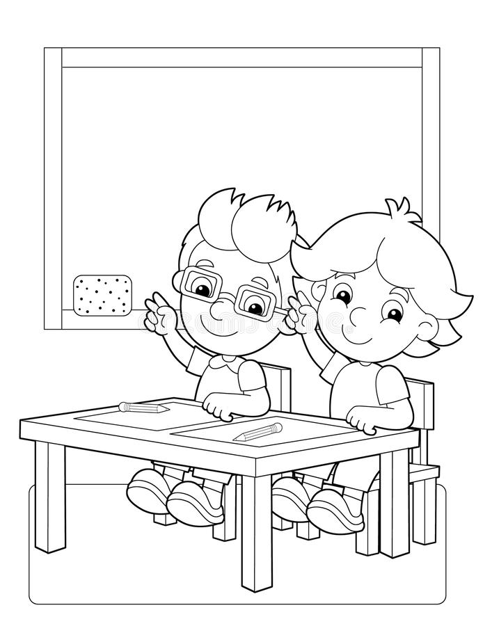 Download the page with exercises for kids coloring book illustration for the children stock