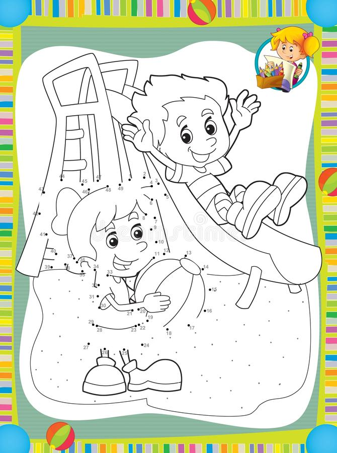 Download the page with exercises for kids coloring book make up illustration for