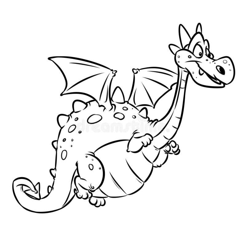 Page gaie animale féerique de coloration de bande dessinée de dragon illustration de vecteur
