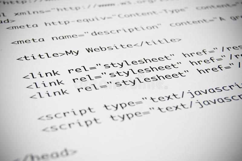 Page of HTML Code. Printed page of HTML code stock photography