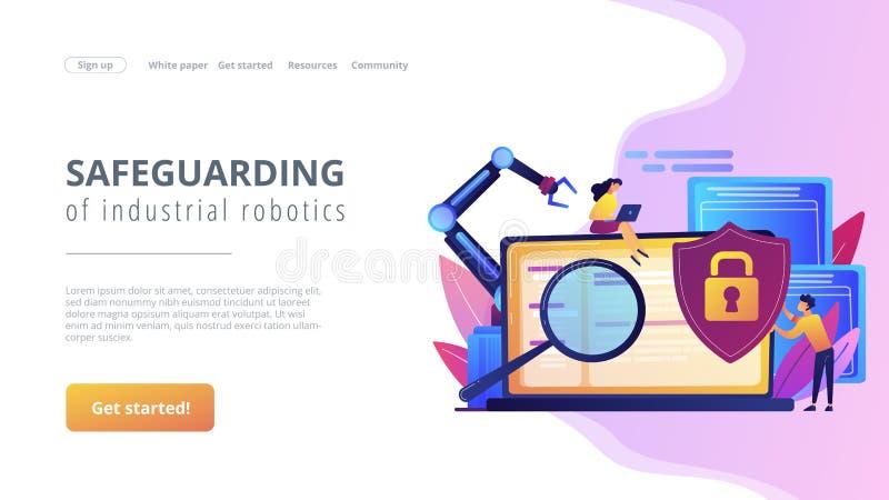 Page industrielle d'atterrissage de concept de cybersecurity illustration de vecteur