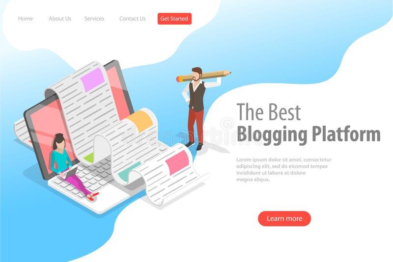 Page isométrique d'atterrissage de vecteur pour bloguer créatif, signalisation commerciale de blog illustration stock