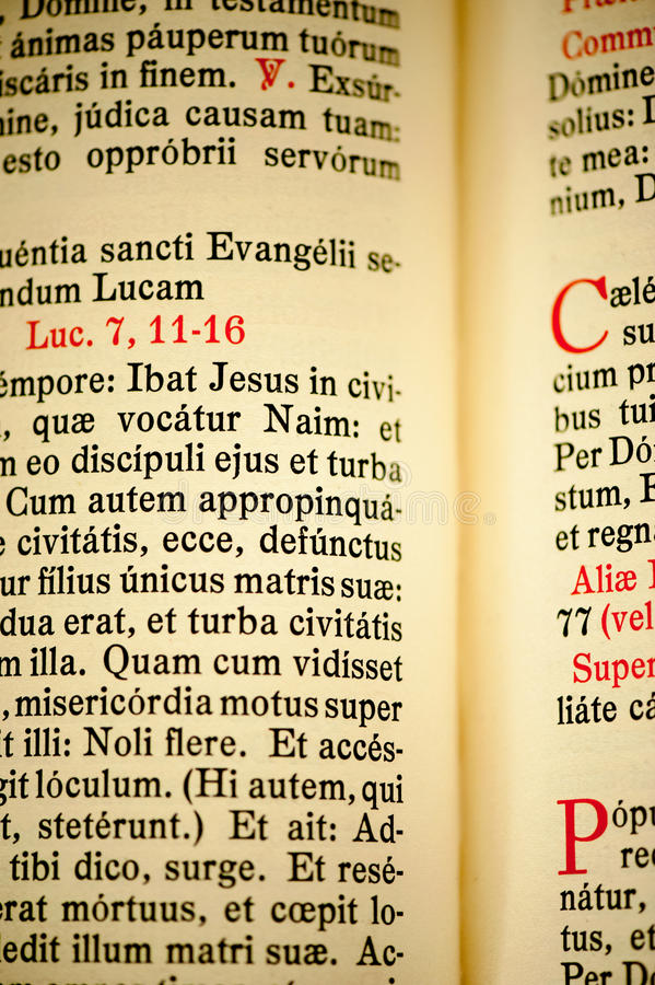 Page from latin New testament. Page from old latin New testament royalty free stock photo
