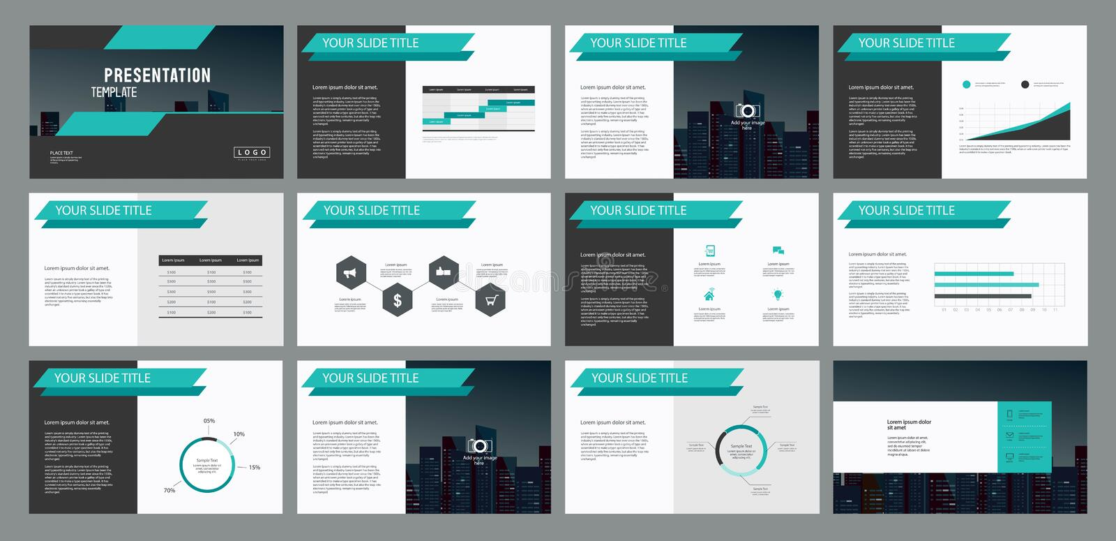 Page Layout Design And Info Graphics Elements For Presentation - Unique company profile presentation template ideas