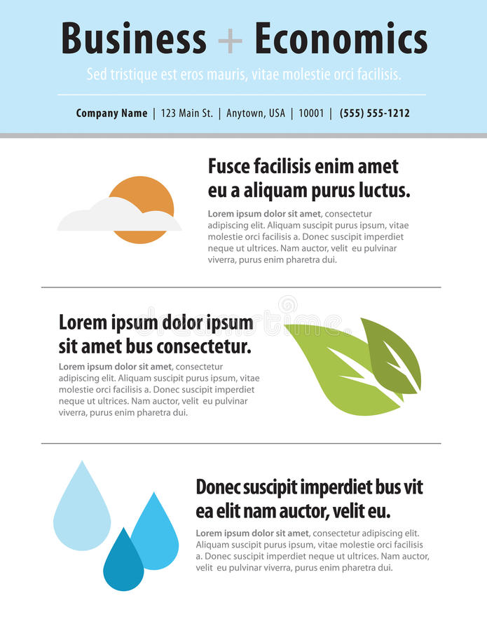 Page layout newsletter. For use with business or nonprofit vector illustration