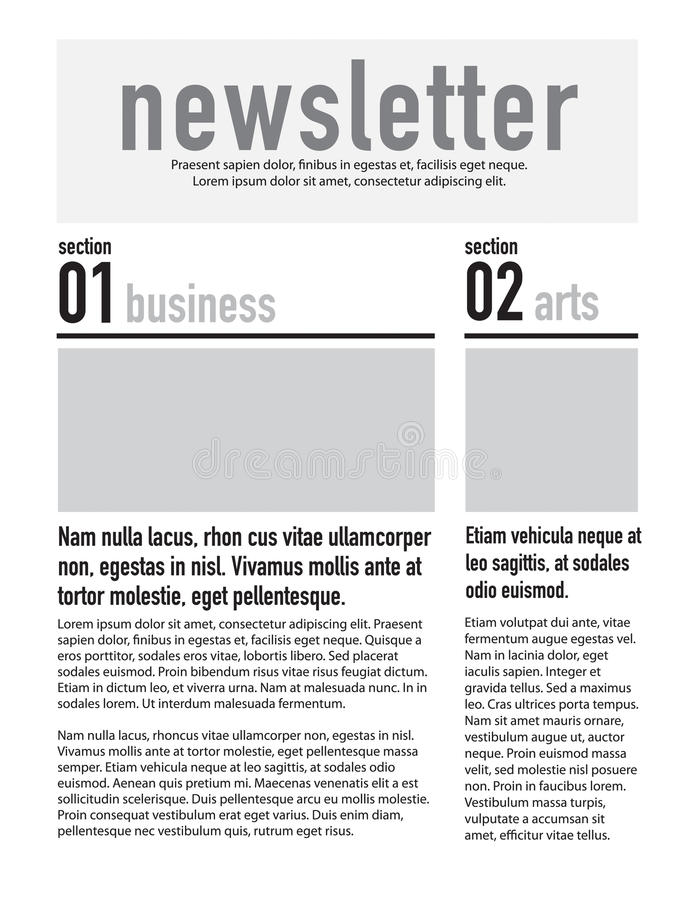 Page layout newsletter. For use with business or nonprofit stock illustration