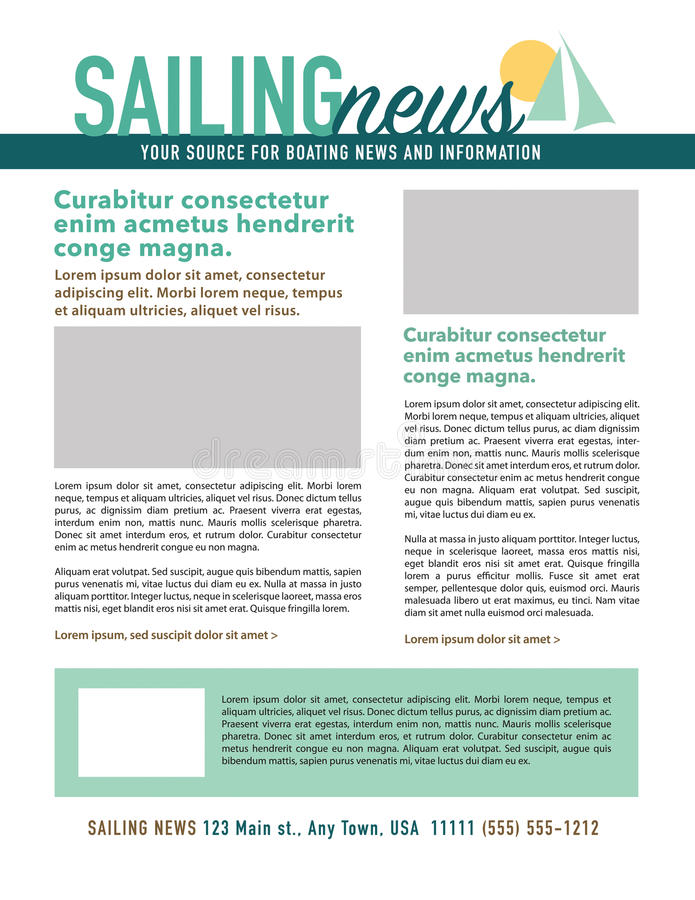 Page layout newsletter. For use with sailing business or nonprofit vector illustration